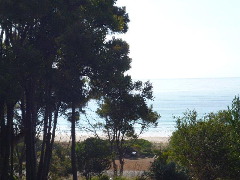 Utsikten över stranden från främre däck