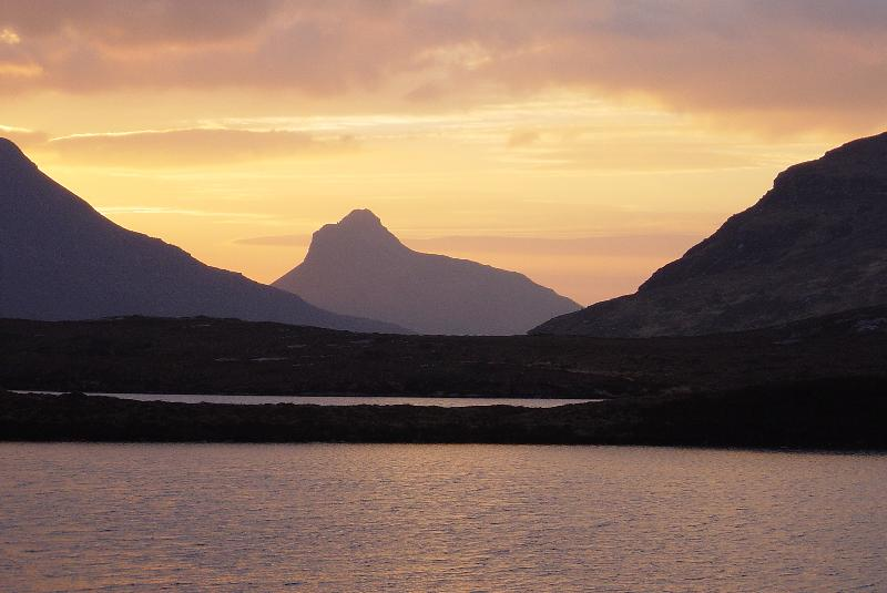 An evening view of the Coigach mountains