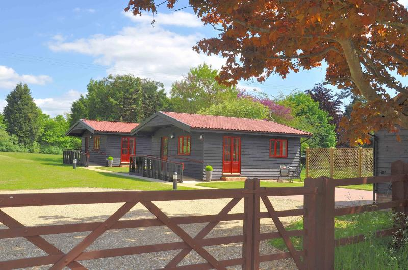 View of the lodges showing the private gateway.
