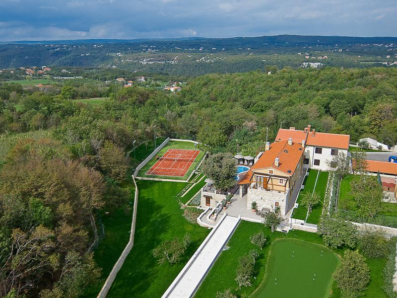Villa Vlastelini - air view, free to walk and hike on completely sorrounded 20.000 sqm area