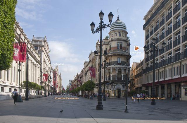Catedral y Avenida de la Constitución a la izquierda.Calle Fernández y González a la derecha.
