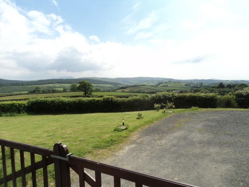 Merlin House view across garden to Brecon Beacons
