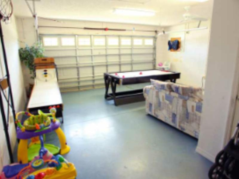 games room with TV, electronic games, air hockey and pool or double garage! also infant equipment