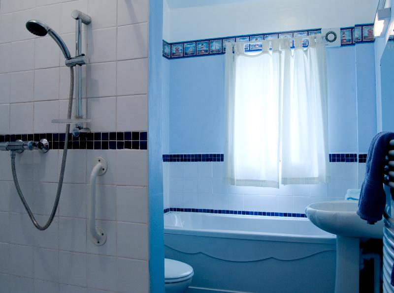 bathroom , with seperate bath and low threshold shower with hand rails.shower chair available