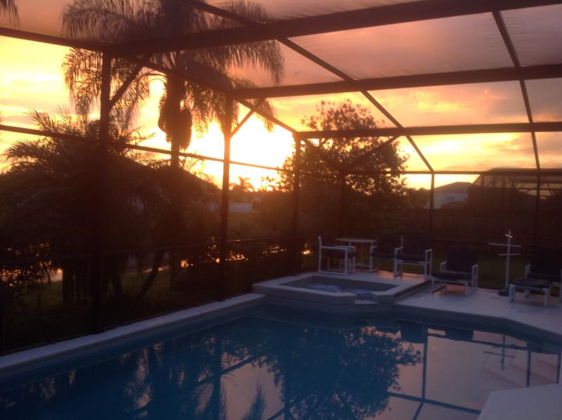 sunset over the pool deck