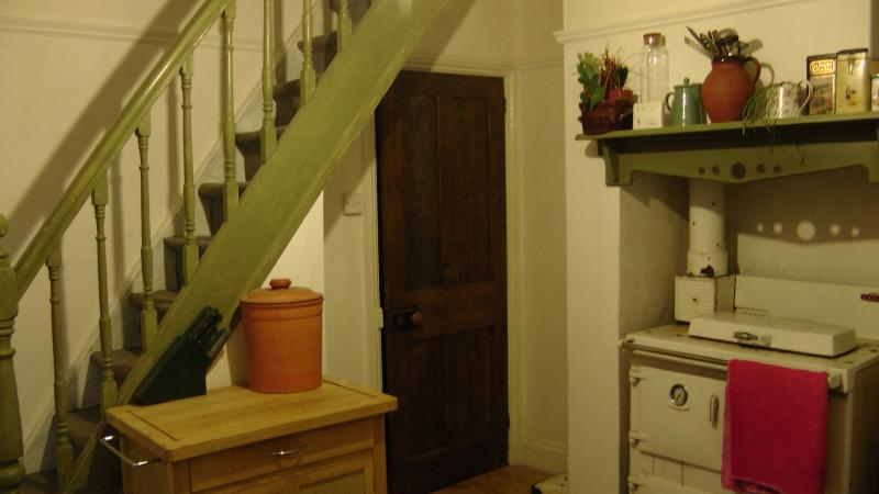 kitchen, stairs to dormer double room