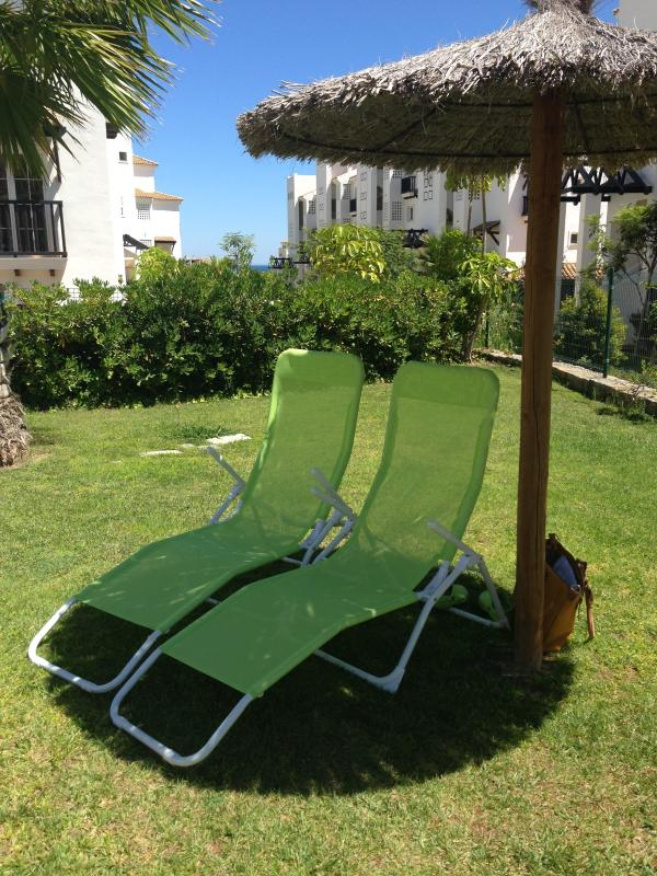 Two lounge chairs available to take down to the pool side