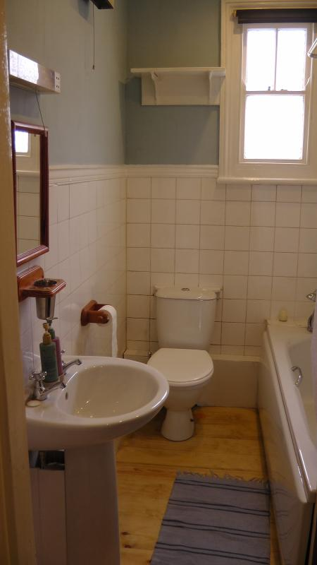 bagno di famiglia con doccia elettrica. Tripadvisor può dirvi dove la metà inferiore è!