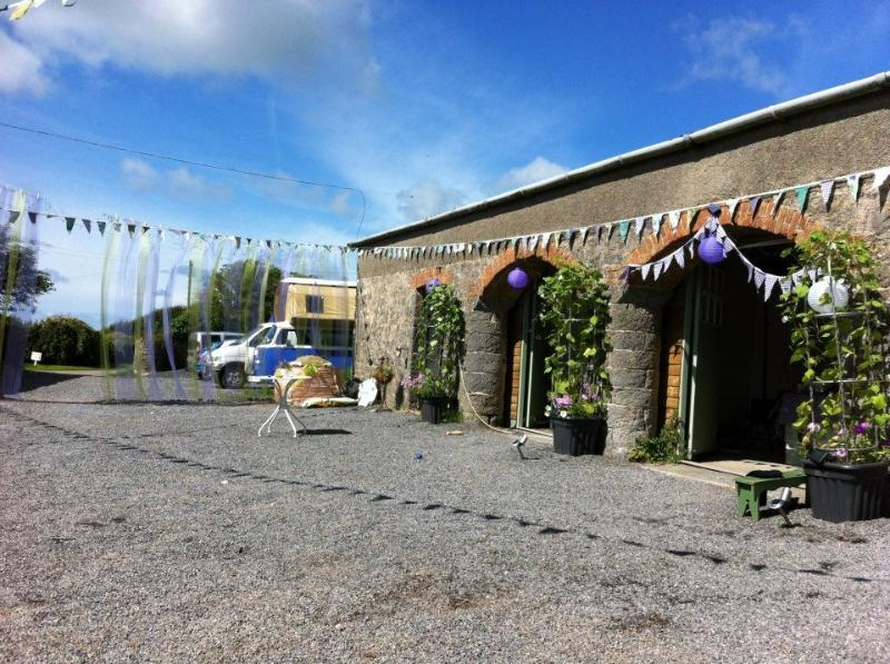 The farmyard, dressed for our annual August gathering