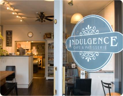 Indulgence - our local Café and Patisserie. No more than a 2 minute walk away.