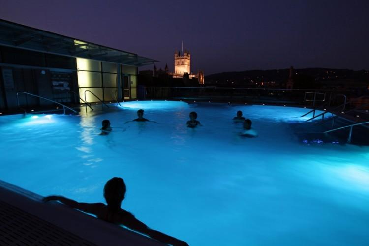 Roof top bathing at Thermae Bath Spa - Britain's original and only natural thermal spa.