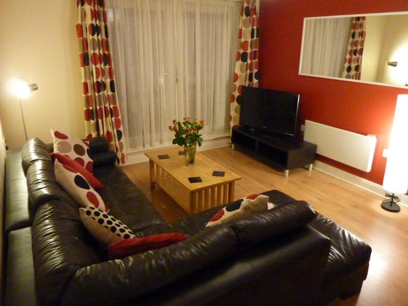 Contemporary lounge area with flat screen TV, DVD and freeview