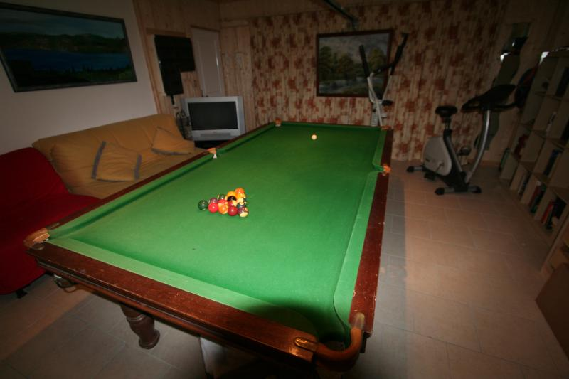 Snooker room with exercise area