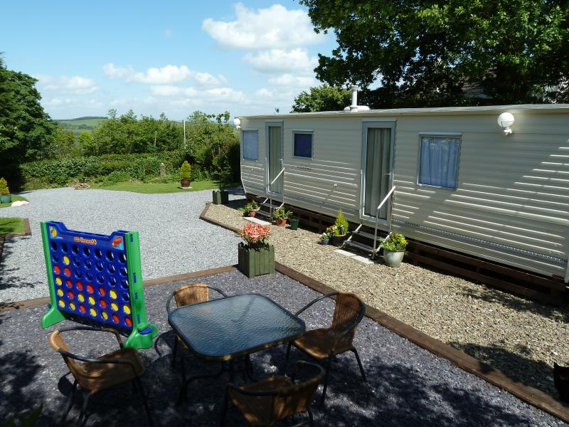 Arfryn from its patio area, Nice, clean and tidy caravan, great view, you will not be disappointed