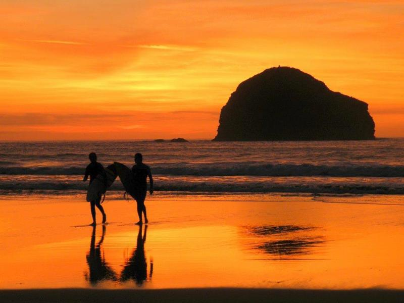 Sunset & surfers at Trebarwith Strand, nr Tintagel - 5km from us