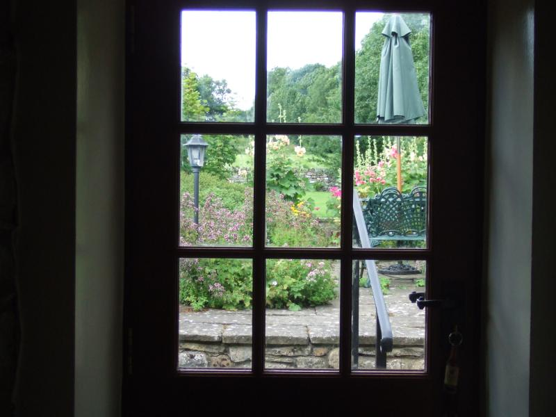 View of patio through entrance door