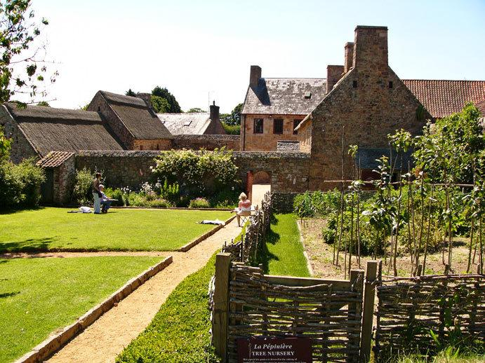 A view of Hamptonne House from the orchard.