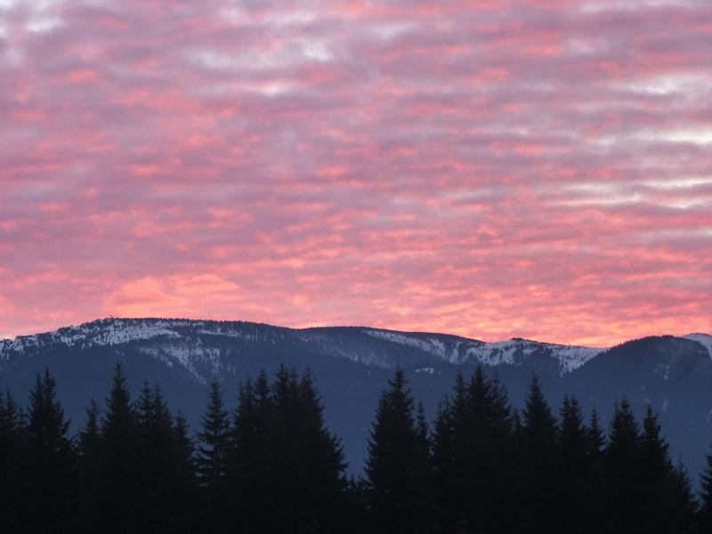 This is the view a 15 minute walk up past the ski lift (well, maybe not always the sunset)