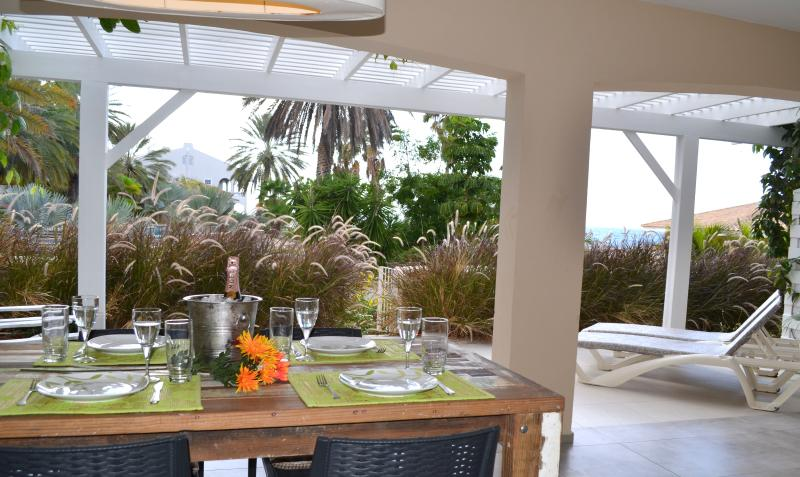 Dinner table, love seat and sun beds and even room left to play
