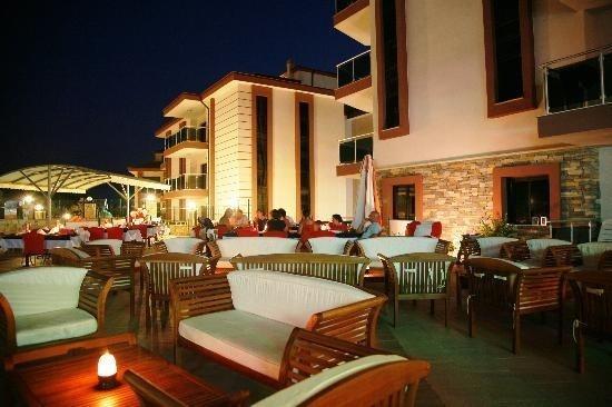 Outdoor restaurant at night