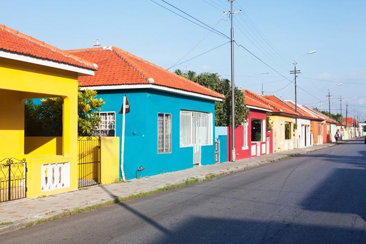 Colourful houses are all over the island