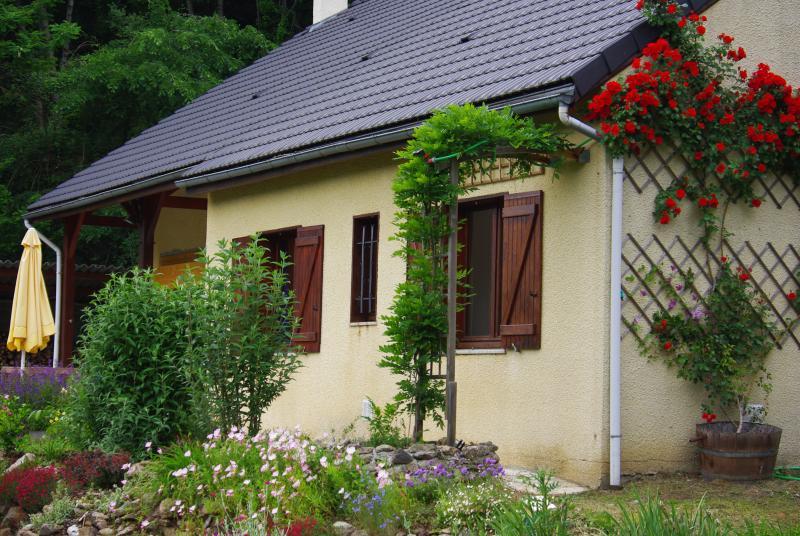 La casa con la rosa y glicinas.