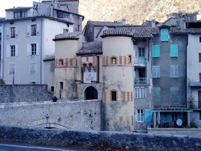Porte Royale, the main entrance to the walled, medieval village of Entrevaux.