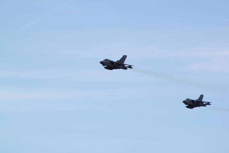 Two of our fighter planes flying over Lossiemouth