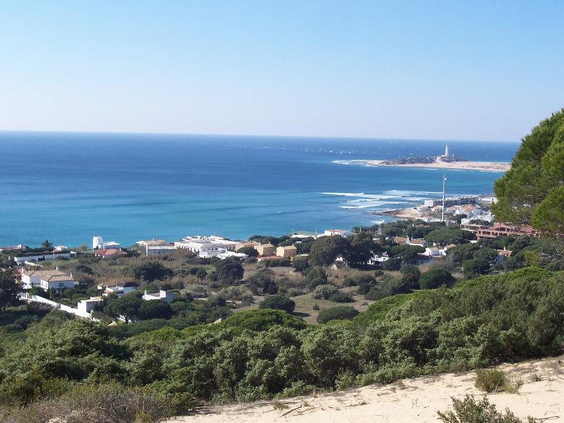 Vista al Faro Trafalgar y Caños de Meca desde el pinar