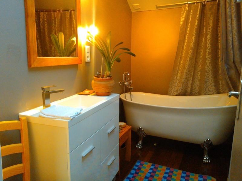 Badezimmer mit einer alten Badewanne altmodischen Stil