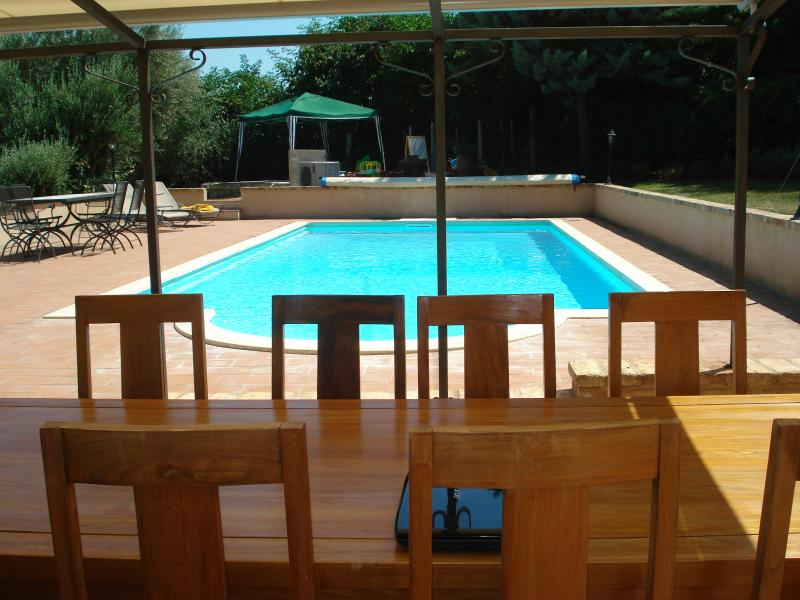 Pool and terrace from house