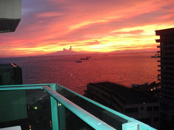 magnificent  sunset   from  balcony
