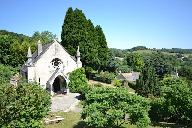 The Old Chapel from the garden with views down the valley