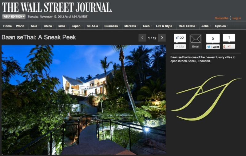 Baan seThai featured on THE WALL STREET JOURNAL