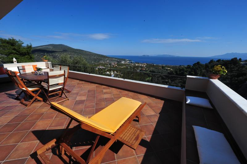 Modern Villa in Ancient Epidavros. Wonderful Balcony with Excquisite Sea View