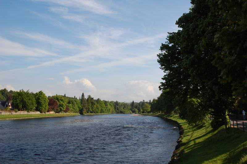 3 mins walk from the apartment - view upstream to Ness Islands