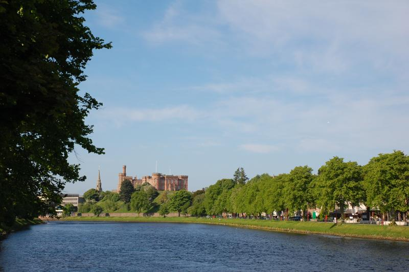 3 mins walk from the apartment - view to Inverness Castle