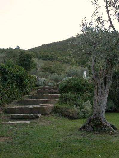 stone stairs to the swimming pool area