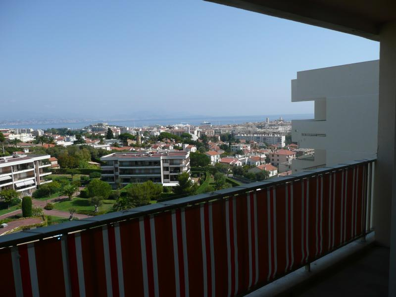view from the terrace over Antibes and the bay of Nice
