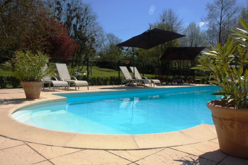 Terraza soleada en la piscina.