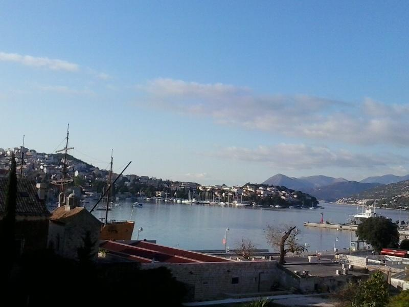 view from 'Apartment - B&B Ljilja' on the port of Gruž , winter time