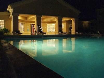Lighted heated swimming pool... so relaxing at night!