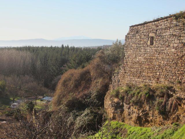 Village wall and view of Pyrenees
