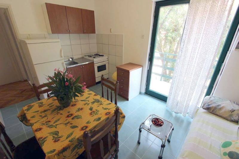 Fully equipped kitchen and living room with balcony