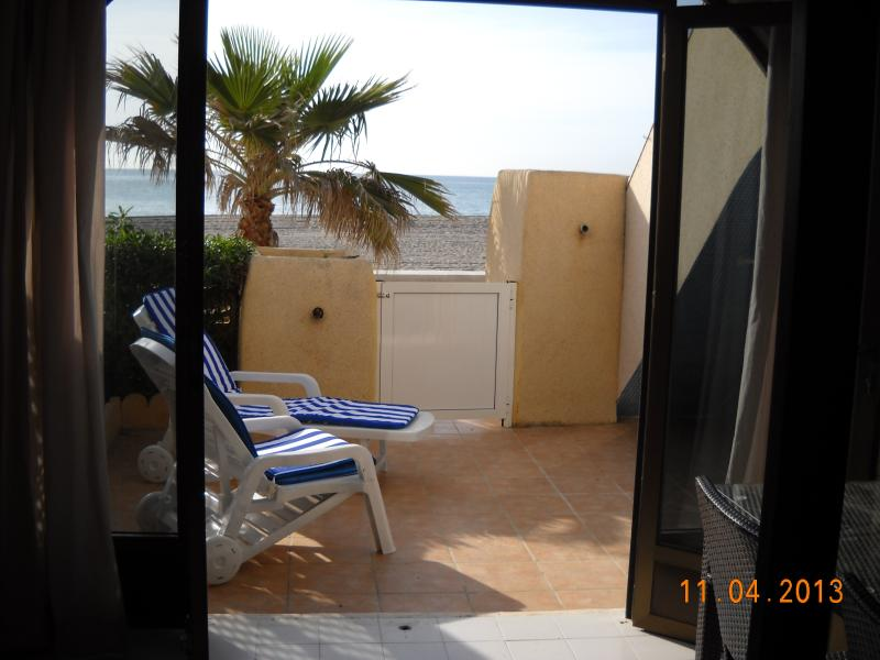 view from enclosed terrace and breakfast area