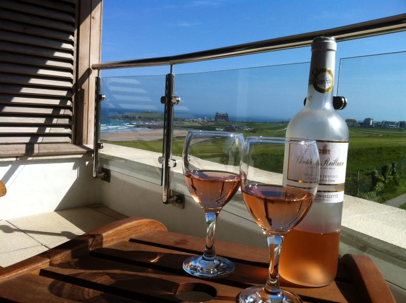 Stunning Views across Fistral Beach from the furnished balcony