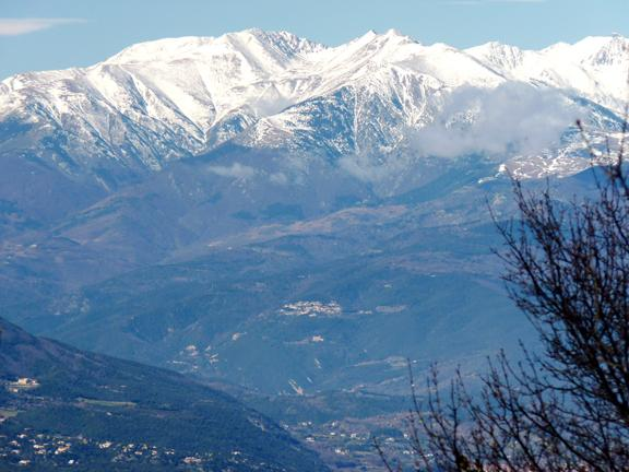 Montbolo, in the centre, on the slopes of the Canigou mountain