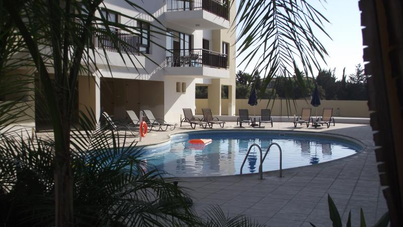 Sunrise Apartment balcony overlooking our beautiful 14m x 7m pool