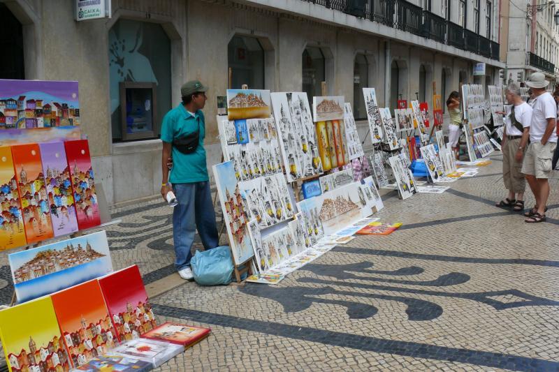 Street traders in Lisbon