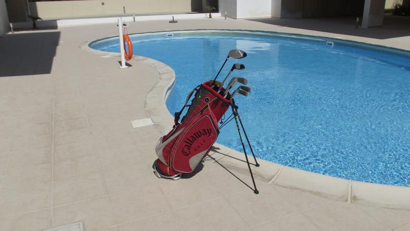 Set of golf clubs are available for guest use.